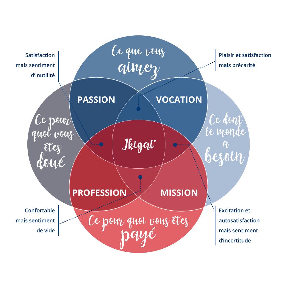 Schéma ikigaï pour trouver sa voie